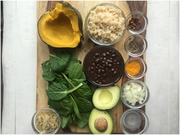 Acorn-Squash-with-Black-Beans-and-Spinach